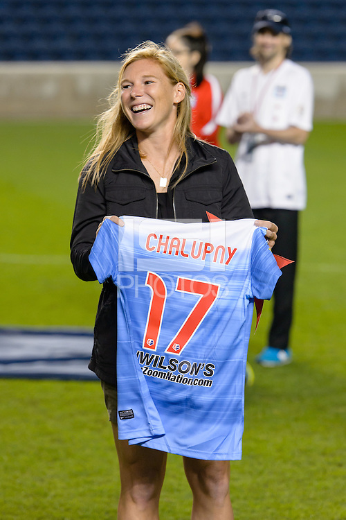 Chicago, IL - Saturday July 30, 2016: Lori Chalupny after a regular season National Women's Soccer League (NWSL) match between the Chicago Red Stars and FC Kansas City at Toyota Park.