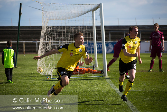 Defender Ryan Porteous turns away in celebration after netting his team's injury-time winner at Gayfield Park as Arbroath hosted Edinburgh City (in yellow) in an SPFL League 2 fixture. The newly-promoted side from the Capital were looking to secure their place in SPFL League 2 after promotion from the Lowland League the previous season. They won the match 1-0 with an injury time goal watched by 775 spectators to keep them 4 points clear of bottom spot with three further games to play.