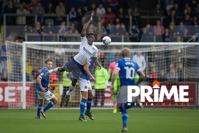 Anthony Stewart of Wycombe Wanderers goes up for the ball during the Sky Bet League 2 match between Carlisle United and Wycombe Wanderers at Brunton Park, Carlisle, England on 24 September 2016. Photo by Andy Rowland.