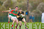 Jamie Doolan Crokes tries to turn John Ryan Loughmore/Castleiney during the Munster Club championships in Killarney on Saturday