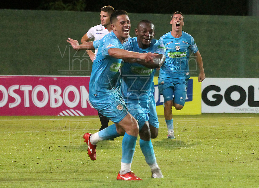 MONTERÍA - COLOMBIA ,05-10-2019:Yulian Anchico jugador de Jaguares de Córdoba celebra después de anota un gol al Once Caldas durante partido por la fecha 15 de la Liga Águila II 2019 jugado en el estadio Municipal Jaraguay de Montería . /Yulian Anchico player of Jaguares of Cordoba celebrates after scoring a goal agaisnt of Once Caldas during the match for the date 15 of the Liga Aguila II 2019 played at Municipal Jaraguay Satdium in Monteria City . Photo: VizzorImage / Contribuidor.