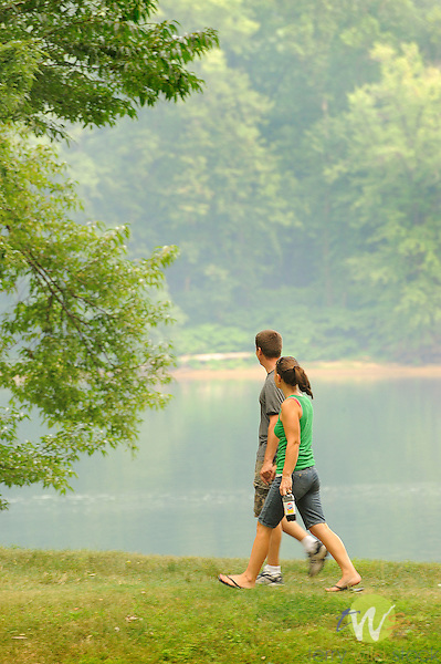 Susquehanna River Park. Couple walking. Williamsport, PA.