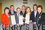 Launching the Be Aware Prevent Suicide poster in the Malton Hotel on Saturday night was  Deirdre Fee, Tom Leslie, Terence Casey, Declan Fuller Rotary Chairman, Breda Joy, Gert Maees and Katie O'Connell..
