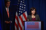 October 24, 2013  (Washington, DC)  Neera Tanden, President of the Center for American Progress, introduces Secretary of State John Kerry during during the 10th anniversary policy conference of the Center for American Progress.  (Photo by Don Baxter/Media Images International)