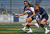 Alyssa Parrella #7 of Hofstra University, center, gains possession of a loose ball during an NCAA women's lacrosse game against Bucknell at Shuart Stadium in Hempstead, NY on Saturday, Feb. 17, 2018. Hofstra cruised to a 13-1 win. Parrella tallied four goals and an assist.