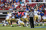 Tulsa Golden Hurricane place kicker Jacob Rainey (95) in action during the game between the Tulsa Golden Hurricanes and the SMU Mustangs at the Gerald J. Ford Stadium in Fort Worth, Texas.