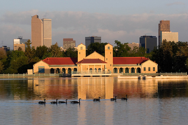 Canadian Geese in City Park with Ferril Lake and Boathouse, Denver,  Colorado. .  John offers private photo tours in Denver, Boulder and throughout Colorado. Year-round Colorado photo tours.