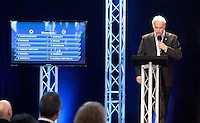30 MAY 2012 - LONDON, GBR - Commentator Paul Bray announces  the addition of host nation Great Britain to women's Group A during the London 2012 Olympic Games Handball Draw at the National Sports Centre in Crystal Palace, Great Britain. The remaining place in Group B was taken by France (PHOTO (C) 2012 NIGEL FARROW)