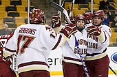 Brian Gibbons (BC - 17), Cam Atkinson (BC - 13), Ben Smith (BC - 12) - The Boston College Eagles defeated the Harvard University Crimson 6-0 on Monday, February 1, 2010, in the first round of the 2010 Beanpot at the TD Garden in Boston, Massachusetts.