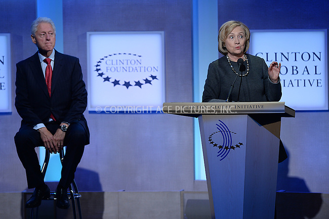 WWW.ACEPIXS.COM<br /> September 22, 2014 New York City<br /> <br /> Bill Clinton and Hillary Clinton during the Clinton Global Initiative on September 22, 2014 in New York City.<br /> <br /> <br /> By Line: Kristin Callahan/ACE Pictures<br /> ACE Pictures, Inc.<br /> tel: 646 769 0430<br /> Email: info@acepixs.com<br /> www.acepixs.com