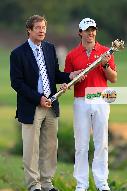 World No.1 Rory McIlroy (NIR) with George O'Grady, Director European Tour, after winning the tournament with a score of -23 at the end of Sunday's Final Round of the season ending DP World Tour Championship 2012 held on the Earth Course at the Jumeirah Golf Estates,Dubai. 25th November 2012 (Photo Eoin Clarke/www.golffile.ie)