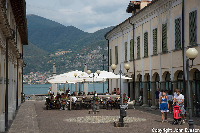 Restaurant at Iseo, Lake Iseo or Lago d'Iseo or Sebino is the fourth largest lake in Lombardy, Italy, fed by the Oglio river. It is in the north of the country in the Val Camonica area, near the cities of Brescia and Bergamo.