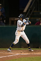 Helena Brewers shortstop Yeison Coca (2) at bat during a Pioneer League game against the Orem Owlz at Kindrick Legion Field on August 21, 2018 in Helena, Montana. The Orem Owlz defeated the Helena Brewers by a score of 6-0. (Zachary Lucy/Four Seam Images)
