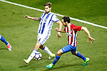 Atletico de Madrid's Juanfran Torres (r) and Real Sociedad's Inigo Martinez during La Liga match. April 4,2017. (ALTERPHOTOS/Acero)