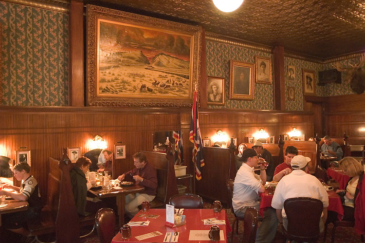 WY: Wyoming, Cody: Dinner at Buffalo Bill's Hotel Irma...Photo #: yellow601..Photo copyright Lee Foster, 510/549-2202, lee@fostertravel.com, www.fostertravel.com..