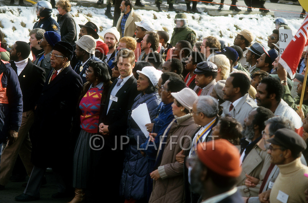 Georgia, Forsyth County, Cumming, 14th, January, 1987. 20,000 people on protest march against racism. Coretta King and Dean Carter on her right.