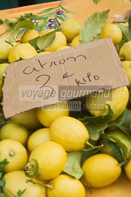 Europe/France/06/Alpes-Maritimes/Nice: Citrons de Menton sur le Marché du Cours Saleya