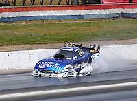 May 19, 2014; Commerce, GA, USA; NHRA funny car driver Tommy Johnson Jr prior to exploding an engine during the Southern Nationals at Atlanta Dragway. Mandatory Credit: Mark J. Rebilas-USA TODAY Sports