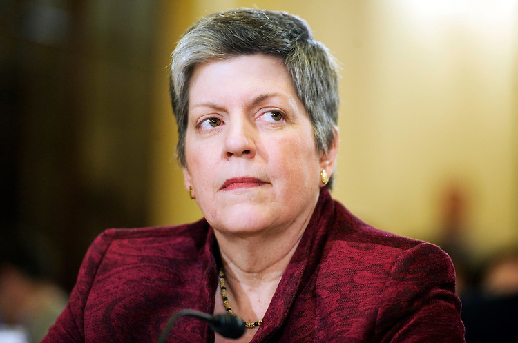 "UNITED STATES - FEBRUARY 09:  Homeland Security Secretary Janet Napolitano, prepares to testify at a House Homeland Security Committee hearing entitled ""Understanding the Homeland Threat Landscape - Considerations for the 112th Congress,"" in Cannon Building.  (Photo By Tom Williams/Roll Call)"
