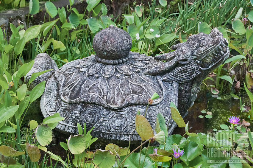 A stone figurine at Mu-Ryang-Sa (or Broken Ridge Temple), a Korean Buddhist temple in Palolo Valley, Honolulu, O'ahu, whose offerings include Buddhist teachings and meditation.