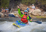 May 30, 2016 - Buena Vista, Colorado, U.S. -  Team Jackson freestyle kayaker, Stephen Wright, acknowledges the crowd following his second place finish in the Men's Freestyle Kayak competition during the CKS Paddlefest, one of the Rocky Mountain Region's first adventure events of the summer in Buena Vista, Colorado.