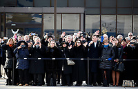 Former staff members watch as the flag-draped casket of former President George H.W. Bush is carried by a joint services military honor guard to Special Air Mission 41, Wednesday, Dec. 5, 2018, at Andrews Air Force Base, Md. <br /> CAP/MPI/RS<br /> &copy;RS/MPI/Capital Pictures