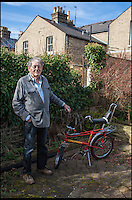 BNPS.co.uk (01202 558833)<br /> Pic: ClaireBorley/BNPS<br /> <br /> ***Must Use Full Byline***<br /> <br /> Tom with the bike. <br /> <br /> The original drawing designs for the Raleigh Chopper have come to light 45 years after the first ever iconic bicycle was made.<br /> <br /> The idea for the much-loved 1970s bike began as a quick doodle by inventor Tom Karen.<br /> <br /> The first scribbled sketches were just basic outlines but they clearly show its most famous features - large U-shaped handlebars and rear wheel and long leather seats.<br /> <br /> The rough sketches evolved into formal designs and Raleigh produced the first Mark I Choppers in 1969.<br /> <br /> They soon became the must-have children's item across Britain and more than 1.5 million of them were made until production ceased in 1979.<br /> <br /> The two pages of original drawings were retained by Mr Karen, now aged 87, and he took<br /> them with him when in 1999 he retired from Ogle Design, the consultancy firm used by Raleigh.<br /> <br /> Since then his sketch books have been left gathering dust in the garage of the grandfather's home in Cambridge. He has now dug them out after rediscovering them.<br /> <br /> Mr Karen said: &quot;The sketch books were just for me to do some rough doodles for me to pass on my ideas to the designers to work on and show to the client.