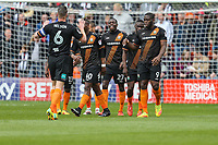 John Akinde of Barnet (right) celebrates after he scores the opening goal of the game during the Sky Bet League 2 match between Barnet and Grimsby Town at The Hive, London, England on 29 April 2017. Photo by David Horn.