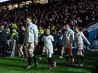 Sarah Hunter and the mascots lead the team out, England Women v France Women in a 6 Nations match at Twickenham Stadium, London, England, on 4th February 2017 Final Score 26-13.