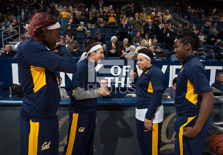 Mikayla Lyles of California talks to the fans before the game against Washington at Haas Pavilion in Berkeley, California on March 1st, 2014.   Washington defeated California, 70-65.