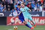 Ivan Rakitic of FC Barcelona is tackled by Gabriel Appelt Pires of CD Leganes during the La Liga 2017-18 match between CD Leganes vs FC Barcelona at Estadio Municipal Butarque on November 18 2017 in Leganes, Spain. Photo by Diego Gonzalez / Power Sport Images