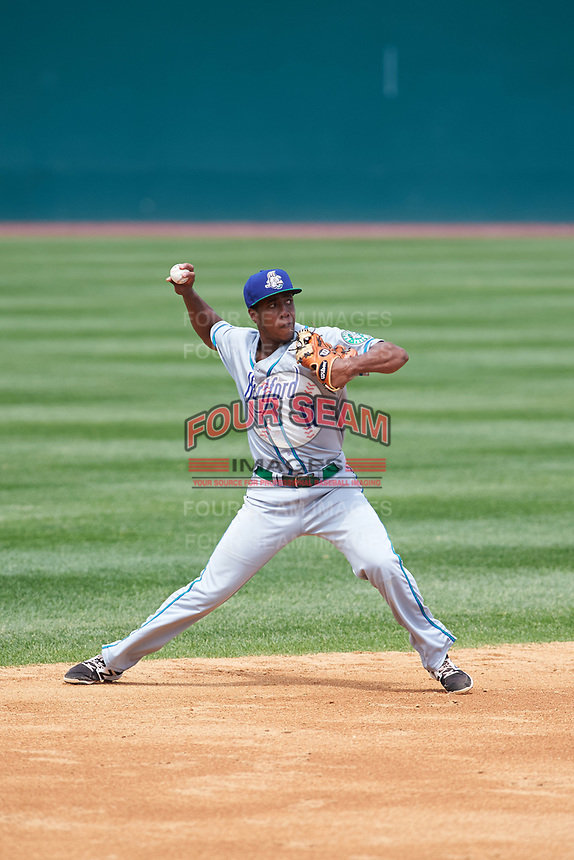Hartford Yard Goats shortstop Luis Jean (17) throws to first base in the bottom of the fifth inning during a game against the Binghamton Rumble Ponies on July 9, 2017 at NYSEG Stadium in Binghamton, New York.  Hartford defeated Binghamton 7-3.  (Mike Janes/Four Seam Images)