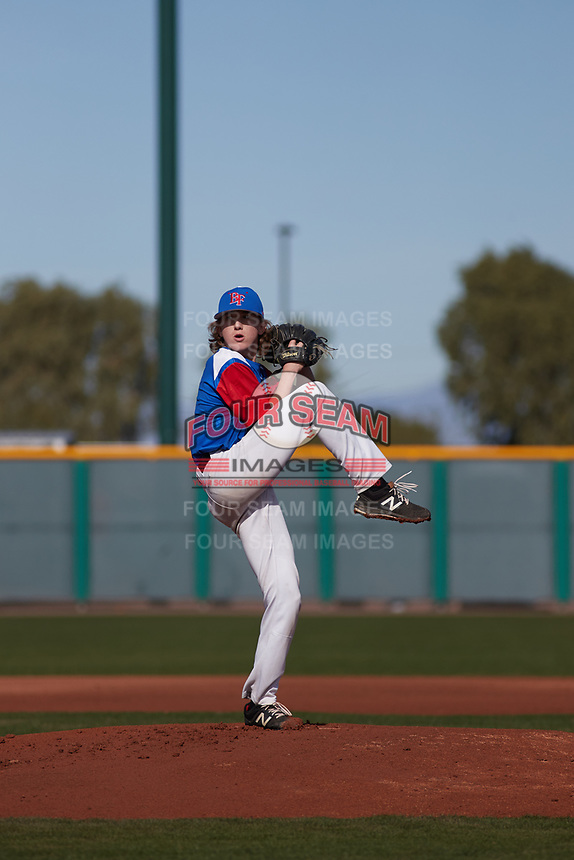 Kristopher Anglin (7) of Frontier High School in Bakersfield, California during the Baseball Factory All-America Pre-Season Tournament, powered by Under Armour, on January 14, 2018 at Sloan Park Complex in Mesa, Arizona.  (Freek Bouw/Four Seam Images)