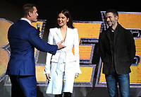LAS VEGAS, NV - APRIL 25: (L-R) Actors John Cena, Hailee Steinfeld and director Travis Knight onstage during the Paramount Pictures presentation at CinemaCon 2018 at The Colosseum at Caesars Palace on April 25, 2018 in Las Vegas, Nevada. (Photo by Frank Micelotta/PictureGroup)
