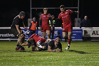 Danny Kenny of London Scottish scores a try during the Greene King IPA Championship match between London Scottish Football Club and Jersey Reds at Richmond Athletic Ground, Richmond, United Kingdom on 16 March 2018. Photo by David Horn.