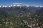 Vue  a&eacute;rienne sur le village de Guillestre au premier plan et place forte de Mont Dauphin. Vall&eacute;e de la Durance domin&eacute;e par les &quot;4000&quot; du massif des Ecrins.<br /> <br /> View on Guillestre and Durance valley with the snowy summits of the mountains of Ecrins