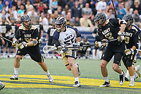Annapolis, MD - April 15, 2017: Navy Midshipmen Brady Dove (55) gets the ball during game between Army vs Navy at  Navy-Marine Corps Memorial Stadium in Annapolis, MD.   (Photo by Elliott Brown/Media Images International)