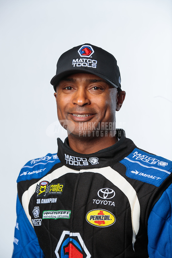 Feb 6, 2019; Pomona, CA, USA; NHRA top fuel driver Antron Brown poses for a portrait during NHRA Media Day at the NHRA Museum. Mandatory Credit: Mark J. Rebilas-USA TODAY Sports