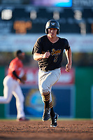 West Virginia Black Bears right fielder Brett Kinneman (5) runs the bases during a game against the Batavia Muckdogs on July 3, 2018 at Dwyer Stadium in Batavia, New York.  Batavia defeated West Virginia 5-4.  (Mike Janes/Four Seam Images)
