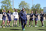 03 April 2016: Notre Dame head coach Christine Halfpenny (center). The University of North Carolina Tar Heels hosted the University of Notre Dame Fighting Irish in a 2016 NCAA Division I Women's Lacrosse match. Maryland won the game 14-8.