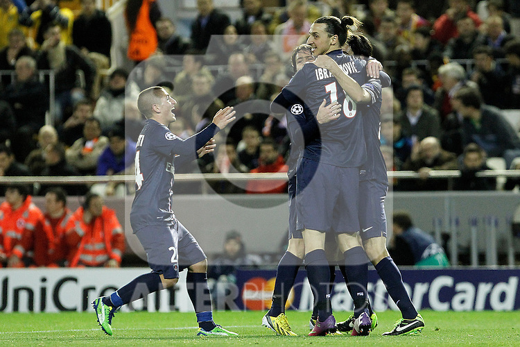 Paris Saint-Germain's Marco Verratti, Maxwell, Zlatan Ibrahimovic and Javier Pastore celebrate goal during Champions League 2012/2013 match.February 12,2013. (ALTERPHOTOS/Acero)