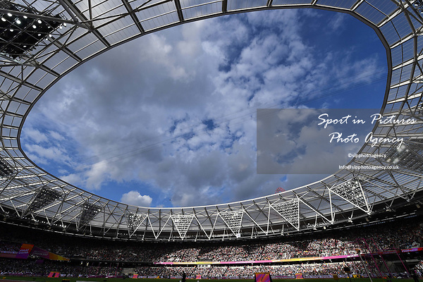 The stadium is looking great in the sunshine. IAAF World athletics championships. London Olympic stadium. Queen Elizabeth Olympic park. Stratford. London. UK. 04/08/2017. ~ MANDATORY CREDIT Garry Bowden/SIPPA - NO UNAUTHORISED USE - +44 7837 394578
