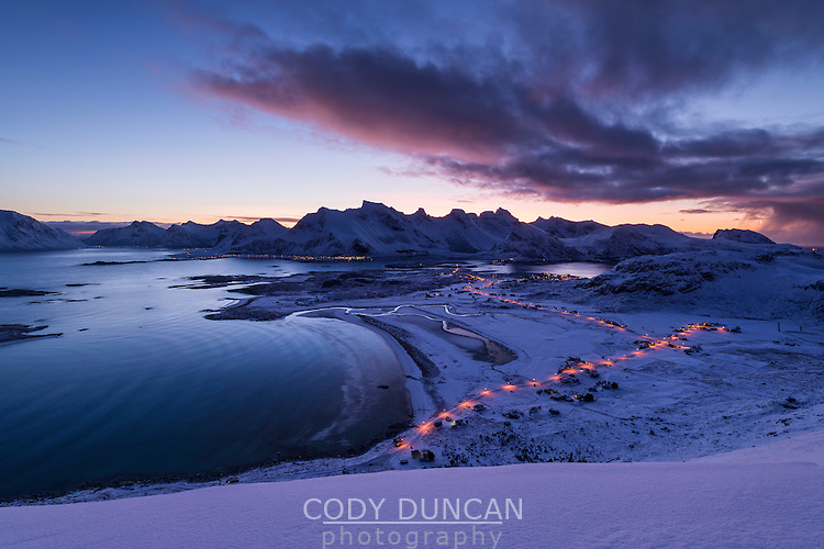 Winter view over Ytresand beach, Moskenesøy, Lofoten Islands, Norway