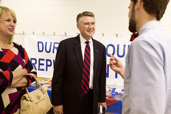 April 6, 2014. Durham, North Carolina.<br />   Mark Harris, center, is one of eight Republican candidates running for Democrat Kay Hagan's Senate seat.<br /> As the the primary scheduled for May 6th grows near, several of the the eight Republican candidates running for the US Senate seat of incumbent Democrat Kay Hagan have increased their public visibility, appearing at events such as the Durham County Lincoln Douglas Lunch, where each candidate was given a few minutes to address the gathered Republican friendly crowd.