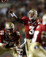 TALLAHASSEE, FL 11/19/11-FSU-UVA111911 CH-Florida State's EJ Manuel passes against Virginia during first half action Saturday at Doak Campbell Stadium in Tallahassee. .COLIN HACKLEY PHOTO