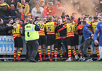 Partick Thistle fans encroach celebrating in the SPFL Ladbrokes Championship football match between Queen of the South and Partick Thistle at Palmerston Park, Dumfries on  4.5.19.
