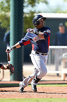 Cleveland Indians second baseman Steven Patterson (25) during an Instructional League game against the Seattle Mariners on October 1, 2014 at Goodyear Training Complex in Goodyear, Arizona.  (Mike Janes/Four Seam Images)