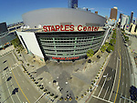 "LOS ANGELES, CA - MARCH 12:  ""One Day One Game"" General aerial view of the outside of the Staples Center before the start of the Los Angeles Clippers against the Golden State Warriors during their NBA Game on March 12, 2014 in Los Angeles, California.  (Photo by Donald Miralle for ESPN the Magazine)"