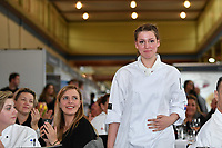 Melbourne, 30 May 2017 - Laura Skvor commis chef assisting Michael Cole of the Georgie Bass Cafe & Cookery in Flinders wins the award for the best commis chef at the Australian selection trials of the Bocuse d'Or culinary competition held during the Food Service Australia show at the Royal Exhibition Building in Melbourne, Australia. Photo Sydney Low