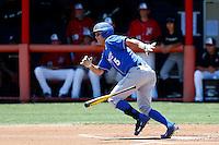 Woody Woodward #5 of the UC Santa Barbara Gauchos bats against the Cal State Northridge Matadors at Matador Field on May 12, 2013 in Northridge, California. Cal State Northridge defeated UC Santa Barbara 7-1. (Larry Goren/Four Seam Images)